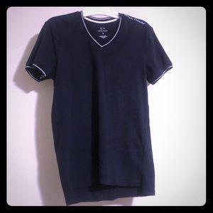 Armani Exchange V Neck T-Shirt - Deep Blue